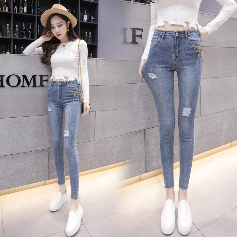 Pengpious Spring School Girls Cotton Spandex Jeans Sand Blast Washed Crooped Lady Denim Pants To Rank First Among Similar Products Jeans