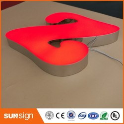 Outdoor advertising led acrylic letters stainless steel channel letter