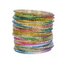 Wholesale 50pcs/Lot Loop Bracelet Alloy Thin Circle Bangle Chromatic Aluminum Charm Cuff For Baby Kids Children