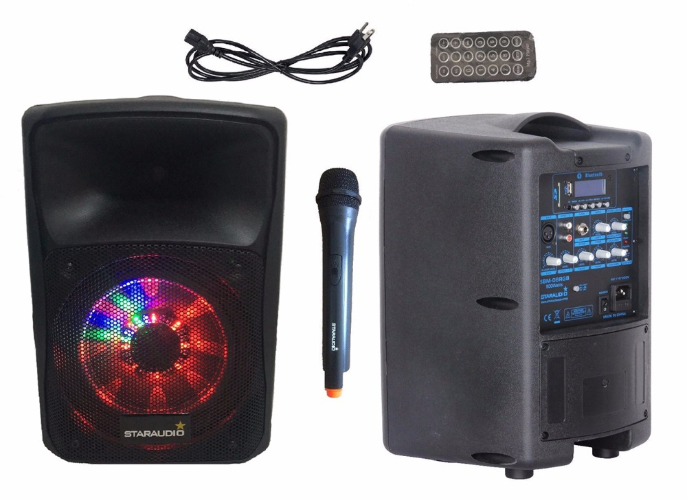 STARAUDIO 800W 8Pro PA DJ BT Powered Active Rechargeble Battery USB SD Speaker Stage Karaoke UHF Mic RGB LED Lighting SBM-08RGB