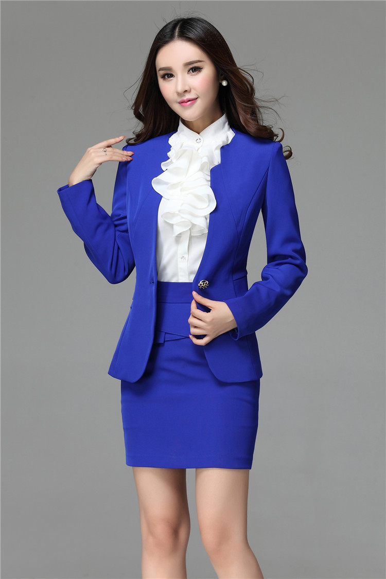 Formal Blue Blazer Women Skirt Suits Work Wear Sets 2 Piece Skirt ...
