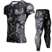 MMA Mięśni Mężczyzn Dres Kompresja Zestaw T Mężczyzna Fitness Rajstopy Krótki Sleeeve Koszulka Legging Odzież 2 sztuk/zestawów Crossfit Siłownie