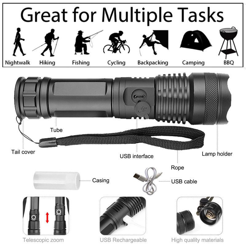 Pocketman 30000 lumens Lamp xhp50 2 most powerful flashlight usb Zoom led torch xhp50 18650 Rechargeable battery hunting in LED Flashlights from Lights Lighting