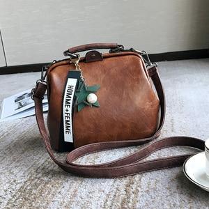 Image 3 - Vintage Small Pu Leather Crossbody Bags for Women Fashion Pendant Design Shoulder Handbag Trending Female Top Handle Tote