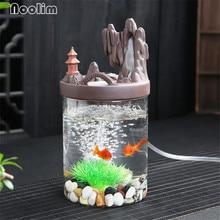 Новая керамическая горелка для благовоний с обратным потоком, стеклянный аквариум с кислородным насосом и светодиодный светильник, креативный держатель для благовоний