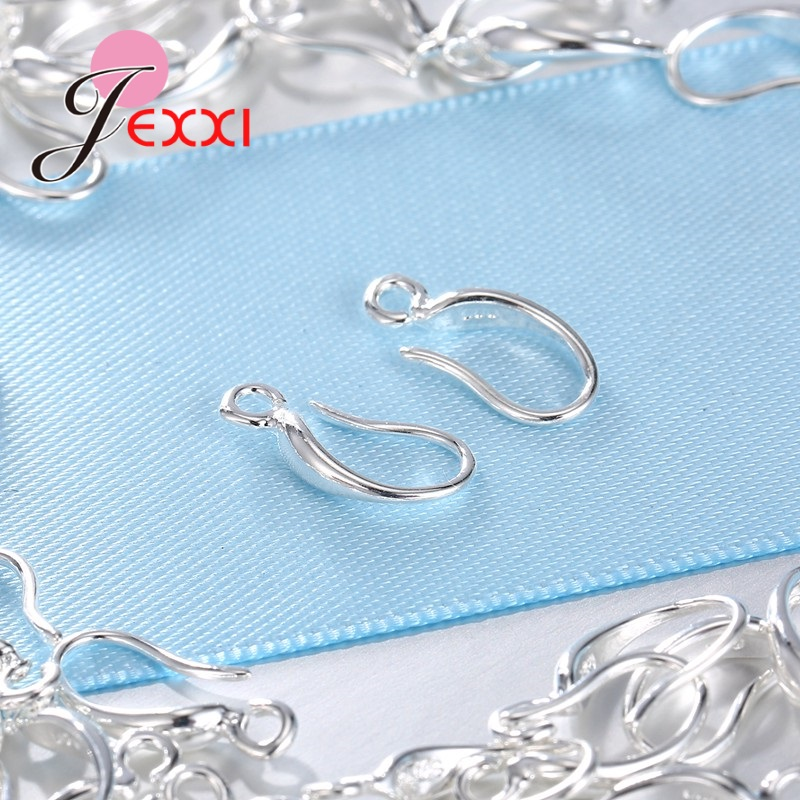 Top Quality 100pcs lot 925 Sterling Silver Earrings Findings For DIY Jewelry Ear Hook Earwires Accessory in Jewelry Findings Components from Jewelry Accessories
