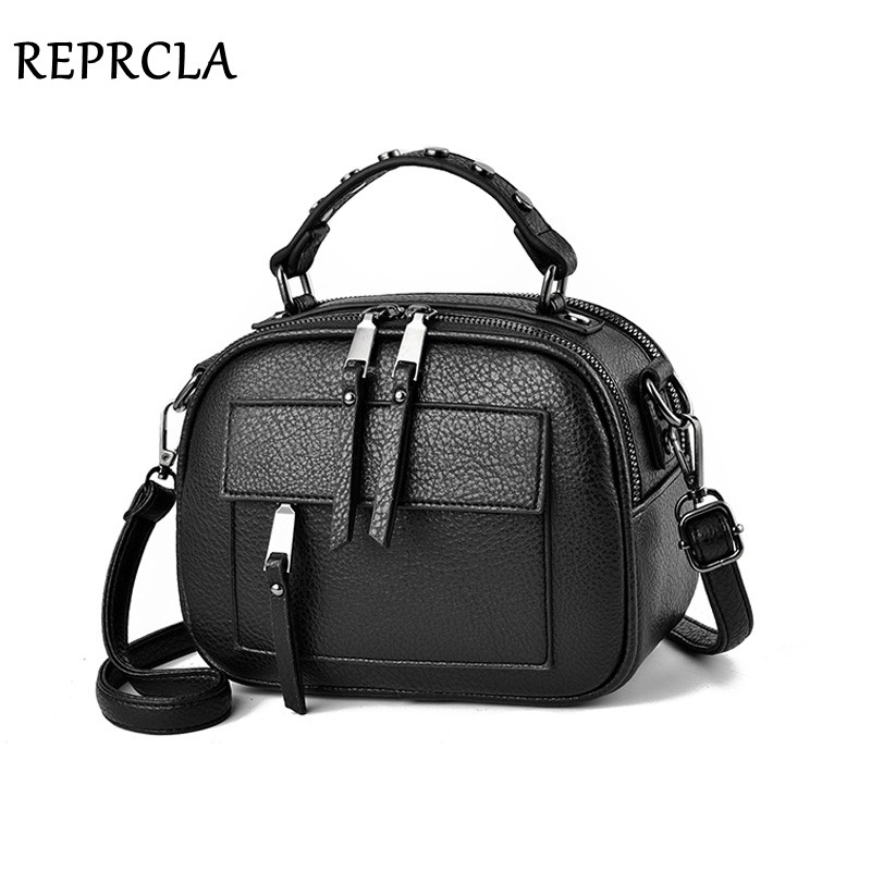REPRCLA New Designer Handbag Women Shoulder Bag Two Compartments Crossbody Bags PU Leather Small Women Tote Messenger Bags