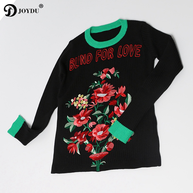 Runway Sweater For Women 2017 Winter Designer Letter Flower Embroidery Patchwork Long Sleeve Slim Jersey Knit Pullover Jumper