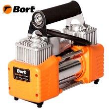 Компрессор автомобильный Bort BLK-700x2 (Максимальное давление 10 Бар, производительность 70 л/мин, в комплекте - сумка, 3 насадки, кабель для прикуривателя, шланг)