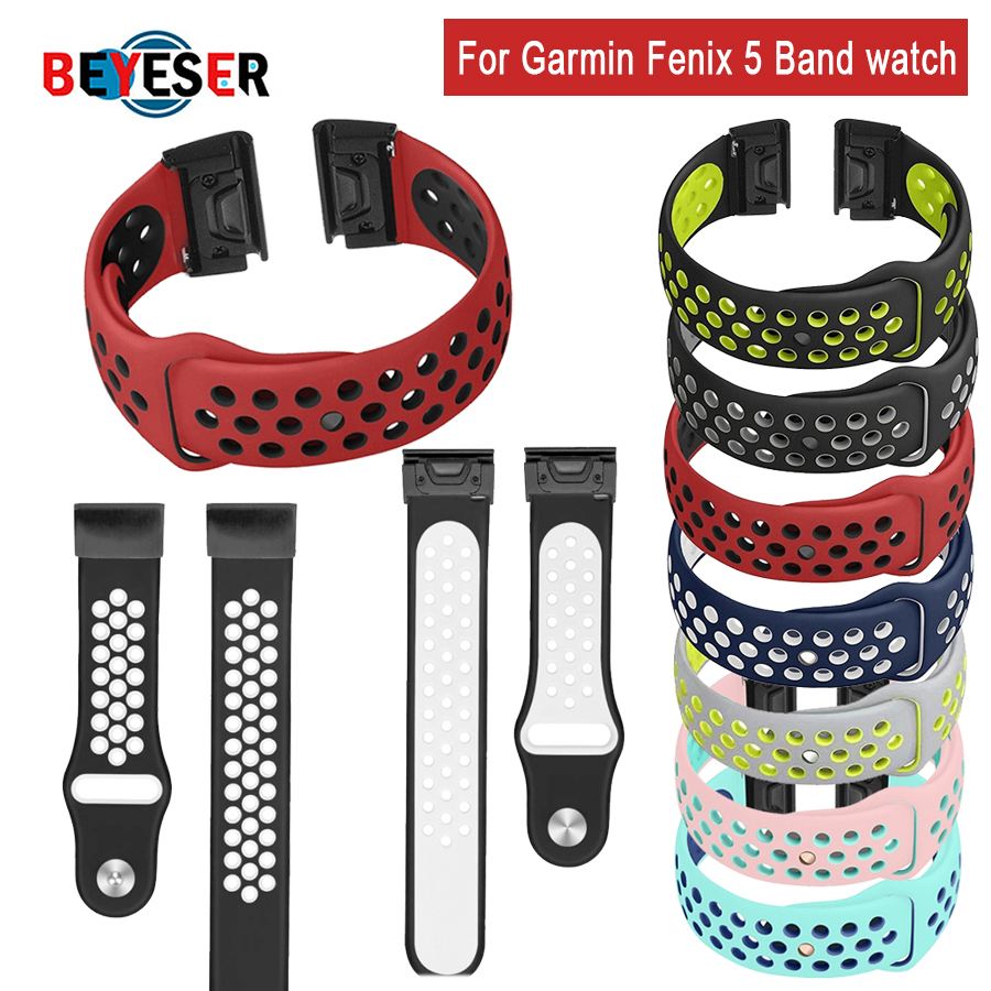 7 Colors Soft Silicone Replacement Wristband Watch Band Bracelet Strap For Garmin Fenix 5 For Smart Watch 22mm Wrist Band Strap