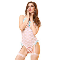 Woman Sexy Bodystockings Sexy Lingerie Cupless Bodysuits Crotchless Erotic Teddy Female Lace Backless Sexy Garter Sleepwear