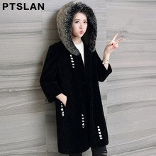 Ptslan winter Real fur coat medium long women s sheep shearing fur one piece overcoat Natural