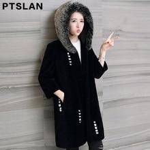 Ptslan winter Real fur coat medium-long women's sheep shearing fur one piece overcoat Natural wool coat fox fur collar