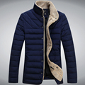 Slim FIt Solid Men's Cotton-padded Coat Wadded Jacket Fashion Male Clothes Outdoor Wear Stand Collar Hooded Parka 4 Colors M-3XL