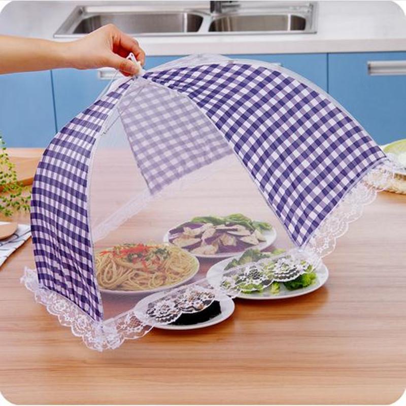 Grid Food Dish Cover Food Mesh Umbrella Foldable Food