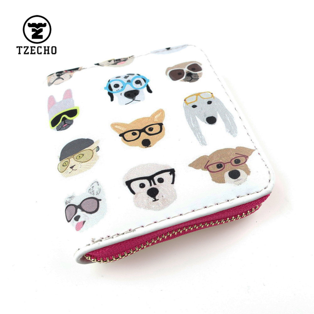 TZECHO Zipper Around Womens Wallets Leather Print Animal Dog Girls Short Money Purses Mini Coin Pocket Small Card Holder Bag dog women wallets and purses for girls kawaii children small short coin purse card holder female mini cartoon character animal