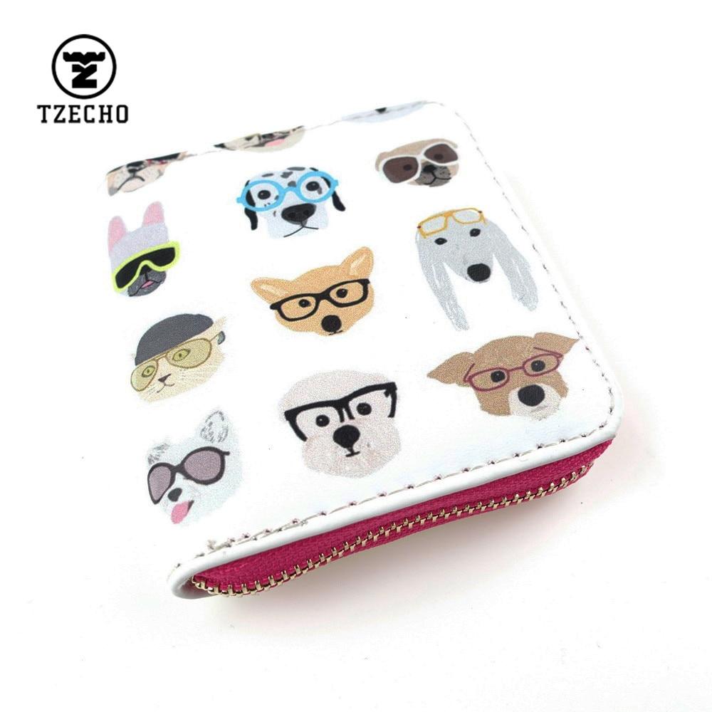 TZECHO Zipper Around Womens Wallets Leather Print Animal Dog Girls Short Money Purses Mini Coin Pocket Small Card Holder Bag