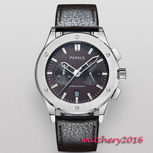 44mm parnis dial Stainless Steel case Deployment Buckle Luxury Brand Chronograph Hot Quartz mechanical men's Wristwatches все цены