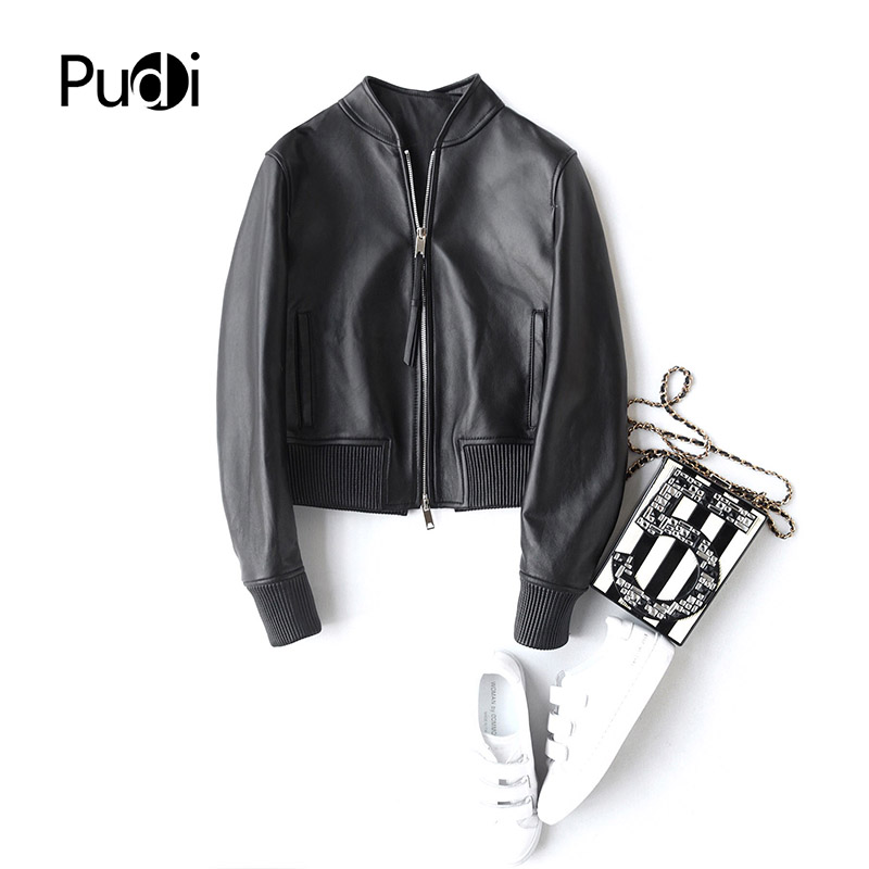 PUDI A22293 2018 New Fashion women real sheep leather ball coat lady genuine leather Leisure Motorcycle