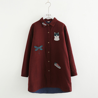 Childlike cat embroidery turn down collar Single breasted female cotton caot