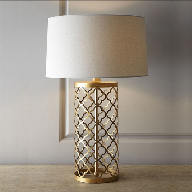 Loft Vintage Modern Lustre Iron Fabric Gold Edison Table Lamps