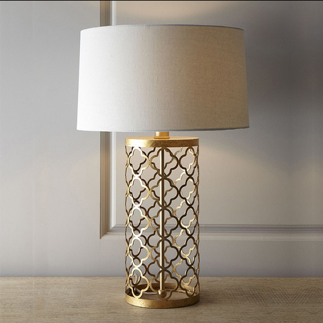 Loft Vintage Modern Re Iron Fabric Gold Edison Table Lamps Bar Coffee Bedside Reading Home Decor Lighting Fixture