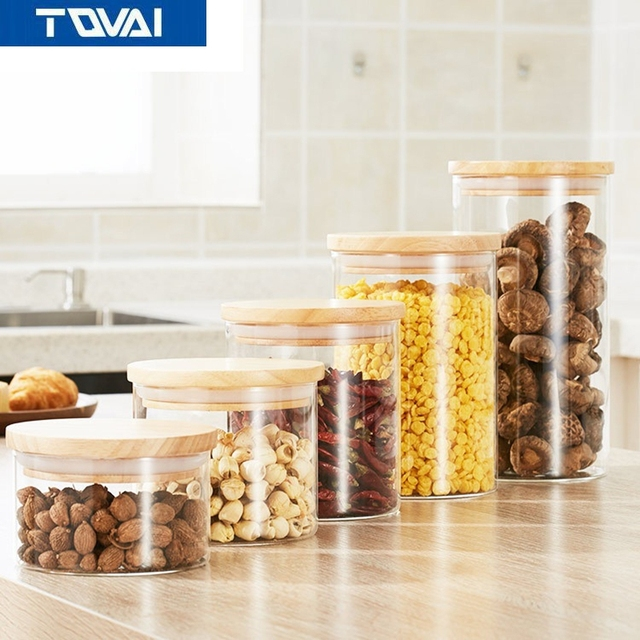 TQVAI Oak Lid Storage TankKitchen Cereal Glass Sealed CanHoney Jar