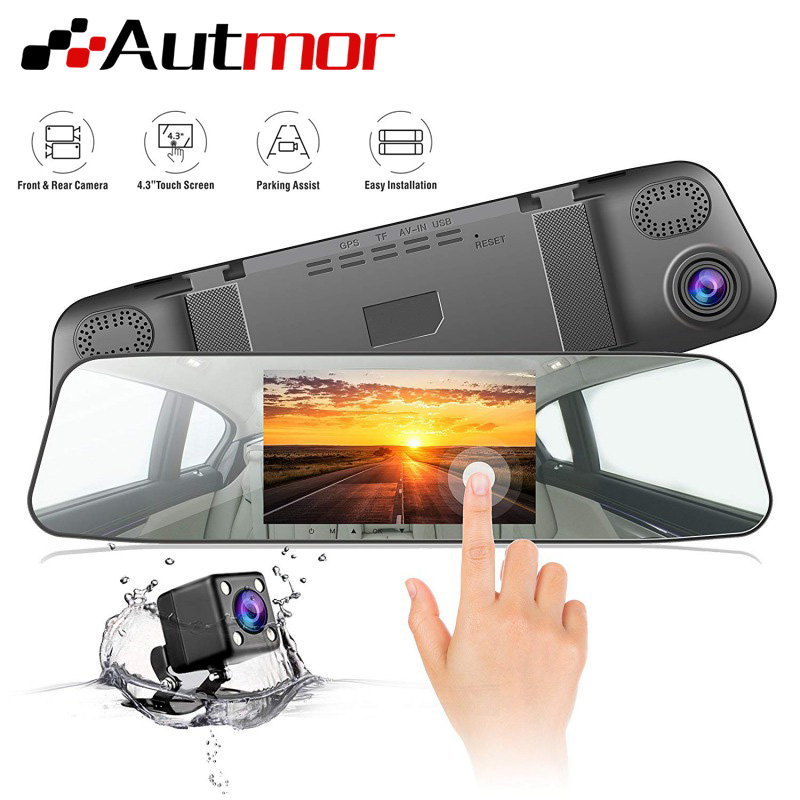 AUTMOR Car Dvr Mirror 4.3Inch Touch Screen FHD 1080P Car Rear View Mirror Camera Dual Lens Dash Cam Parking Monitor Black Box-in DVR/Dash Camera from Automobiles & Motorcycles