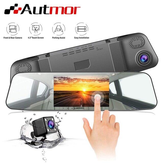 AUTMOR Car Dvr Mirror 4.3Inch Touch Screen FHD 1080P Car Rear View Mirror Camera Dual Lens Dash Cam Parking Monitor Black Box