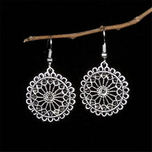 Olaru Trendy Vintage Aretes Silver Round Drop Earrings Circle Ear Ring Dangle Earrings For Women Female Punk Ethnic Jewelry New(China)