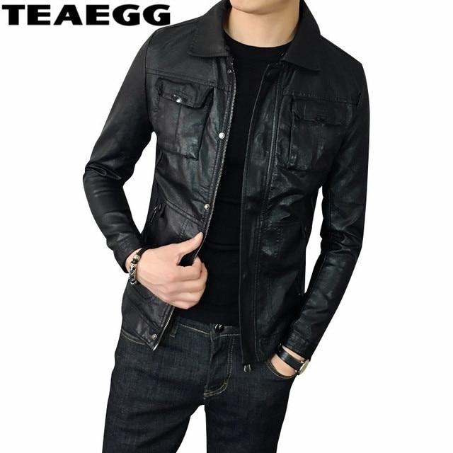 7e1f6d03e3e TEAEGG Тонкий Мужские кожаные куртки пальто черный Pu Кожаные куртки Для  мужчин одежда 2019 Для мужчин