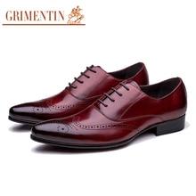 Grimentin Одежда высшего качества кожаные оксфорды Мужские модельные туфли натуральная кожа мужская обувь 2017 роскошные мужские бизнес обувь для офиса