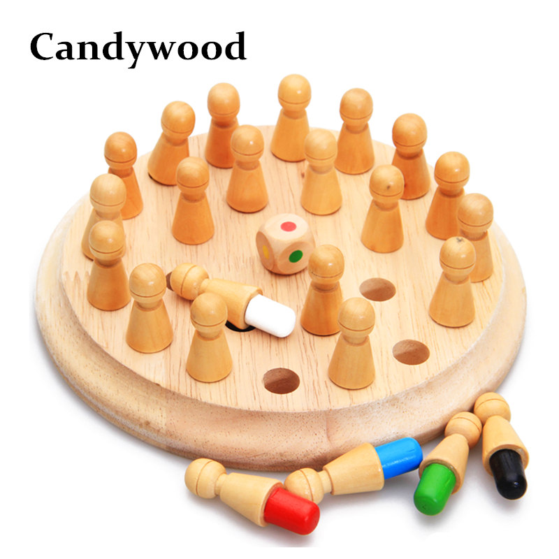 Candywood Kids Wooden Memory Match Stick Chess Game Fun Block Board Game Educational Color Cognitive Ability Toy For Children