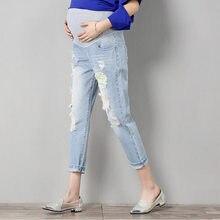 23569662c Agujero embarazo maternidad pantalones vaqueros pantalones de overoles dril  de algodón largo del vientre Legging ropa