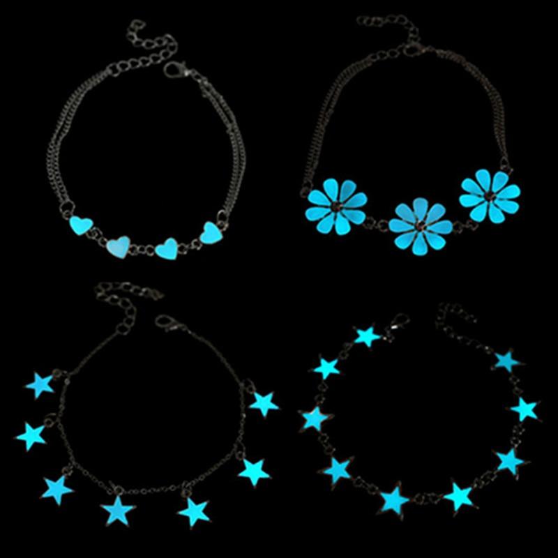 Модные флуоресцентные браслеты и браслеты с милым сердцем и звездой в форме цветка браслеты светящиеся в темноте светящиеся браслеты для ж...