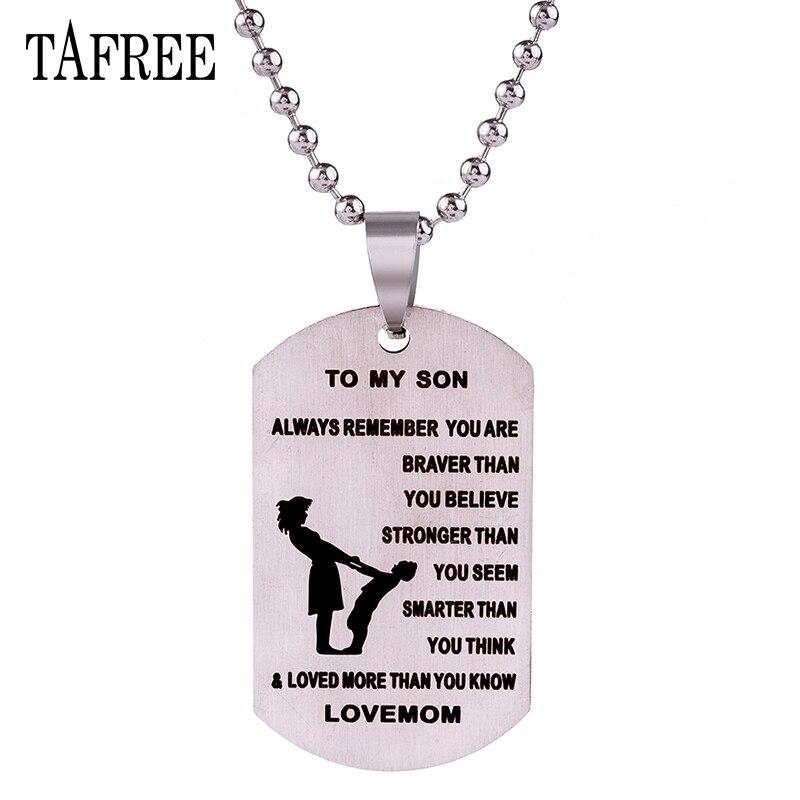 TAFREE для сына подарок кулон Цепочки и ожерелья к сыну Нержавеющаясталь не исчезают с мячом цепи люблю маму Jewelry S23