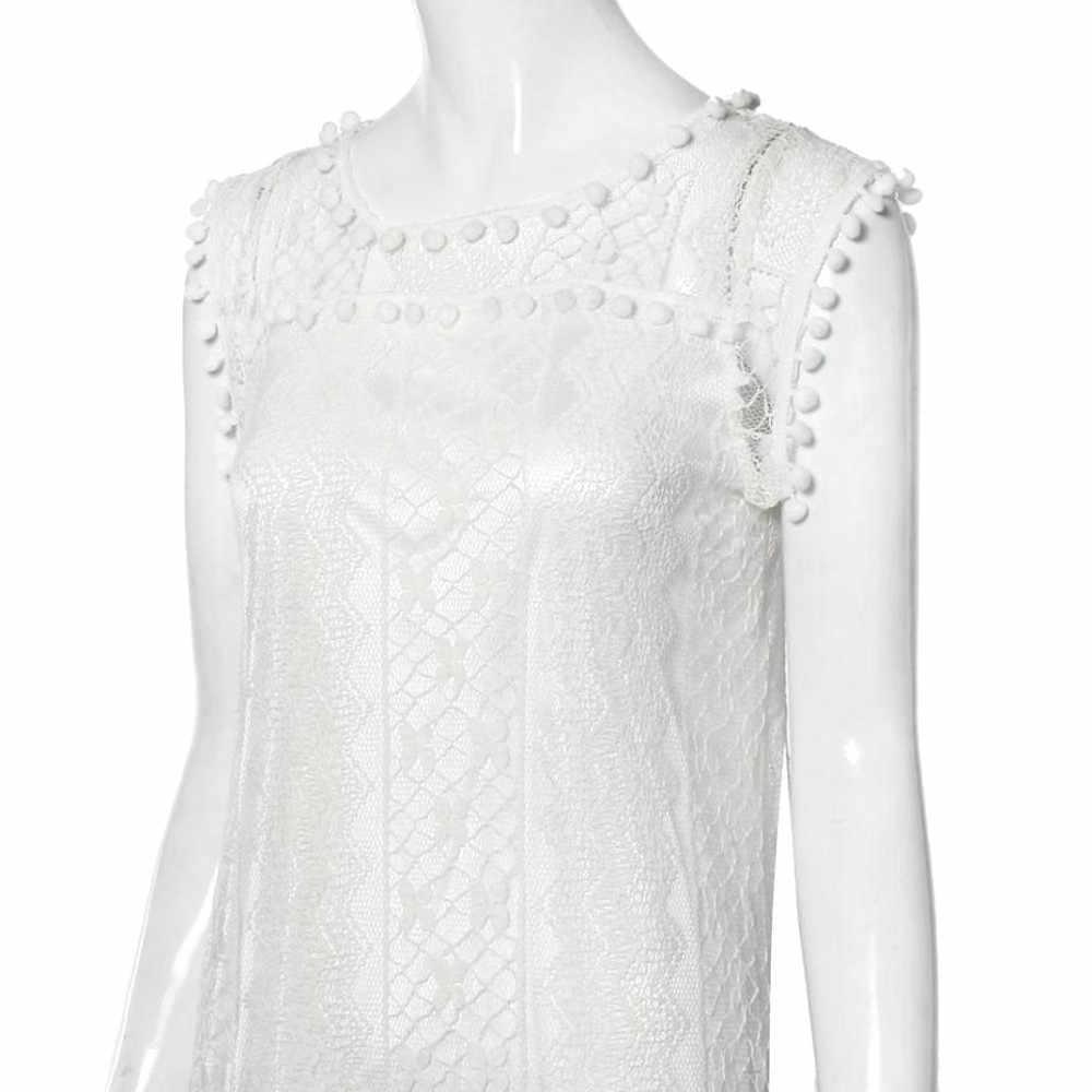 בתוספת גודל 4XL קיץ נשים Midi שמלה אלגנטי ציצית תחרה ללא שרוולים גבירותיי חוף שמלות בציר מסיבת שמלת בגדי נשים