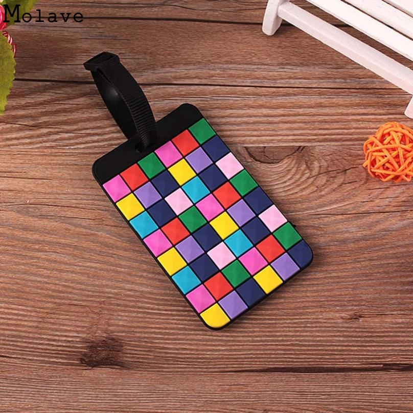 New travel accessories Suitcase Luggage Tags ID Address Holder Luggage Label Geometric Silicone Identifier bag accessorie Jun14