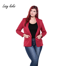 Lazy KoKo Plus Size New Fashion Women Clothing Turtle Neck Pocket Slim  Big Size Casual Small Suit Coat 3XL 4XL 5XL 6XL