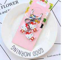 4a9328e8a New 10set cartoon red Hello kitty fruit wooden pendant Keychain Key ring  kids toy gifts K-03