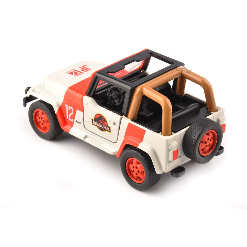 Cheap kids toys 1/32 Alloy Diecast Jeep Wrangler Jurassic Park 1/32 Scale Orange/White Diecast car model toys Children Gift 1