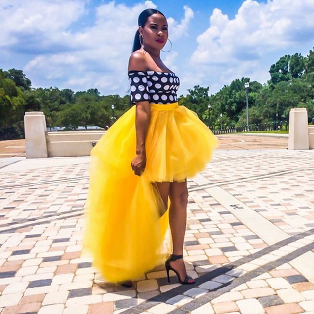 61b12260bdc Fashion Yellow High Low Tulle Skirts Asymmetrical Women Skirts 2018 Plus  Size Party Skirts