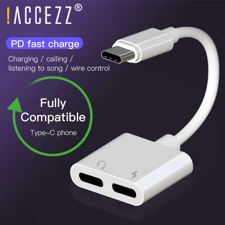 ! ACCEZZ USB Tip-c Ses Şarj Arama Adaptörü 2 in 1 Tip C için 3.5mm Kulaklık Jakı Şarj dönüştürücü Için Huawei Mate 20 Lite