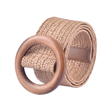1Pcs 90cm Fashion Belt Button For Women Elastic Wood Straw Decoration Accessories Casual Dress Female