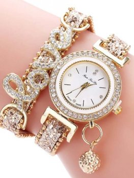 Women's Bracelet Watch Chic Rhinestone Inlay Double Layers Alloy Watch Accessory