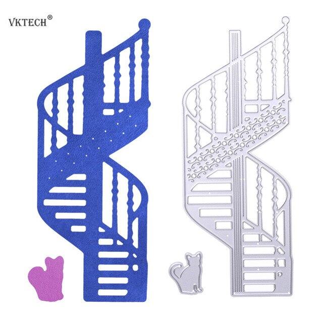 Escaleras de caracol gato patrón metal Recortes de papel stencil DIY ...