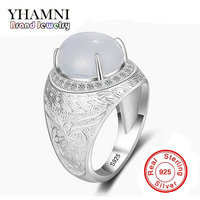 YHAMNI Original Real 925 Sterling Silver Gem Ring Luxury Pattern Carving Jewelry Rings Men Wedding Ring