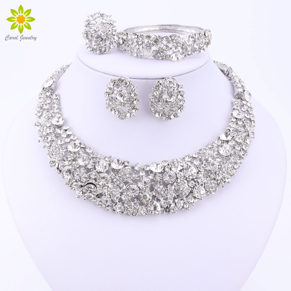 Nigerian Wedding African Beads Jewelry Sets Crystal Necklace Sets Silver Color Jewelry Set Wedding Accessories Party(China)