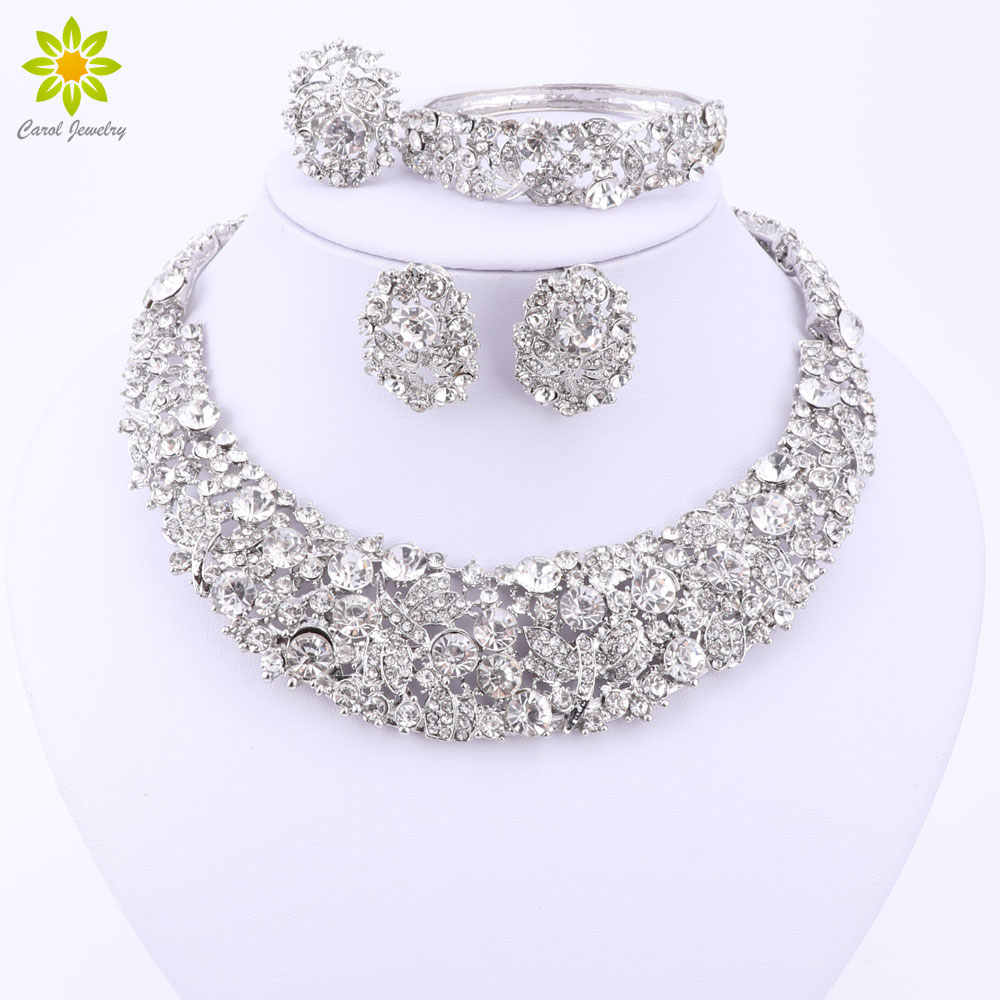 Nigerian Wedding African Beads Jewelry Sets Crystal Necklace Sets Silver Color Jewelry Set Wedding Accessories Party