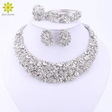 85ae13335 Conjunto de joyería de cuentas africanas de boda nigeriana conjunto de  collar de cristal conjunto de joyas de Color plateado acc.